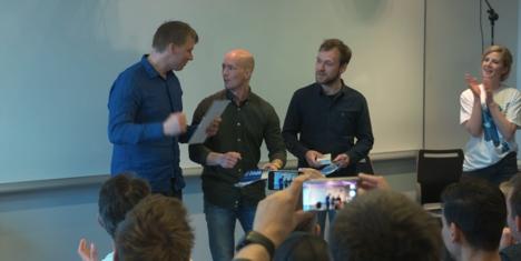Vinnerlaget fra TEKathon_Roall Lebesbye Anders Isachsen og Nicholas Evensen