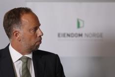Administrerende direktør Christian Vammervold Dreyer i Eiendom Norge presenterer boligprisstatistikk for Juli 2017 på en pressekonferanse i Oslo fredag.