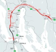 Kart E18 Grenland