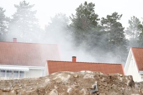 Brann på et anleggsområde på Skårer