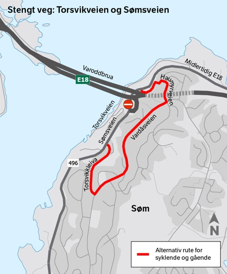 Kart-Alternativ rute for syklende og gående